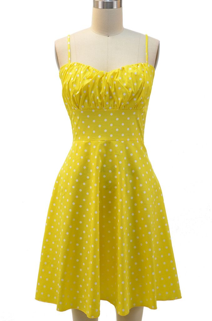 ruched bust pinup sun dress yellow amp white polka dot