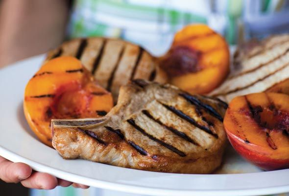 Grilled Country Pork Chops with Bourbon-Basted Grilled Peaches