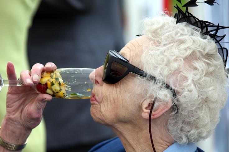 Aunty Georgina enjoys a tipple