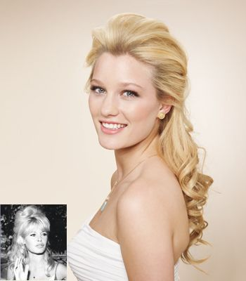 A tousled half-up 'do inspired by Bridget Bardot, from The Knot.