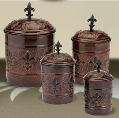 Antique Copper Fleur De Lis Kitchen Canister Set New