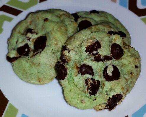 Dark Chocolate Chip Pistachio Pudding Cookies - 1 pkg sugar cookie mix ...