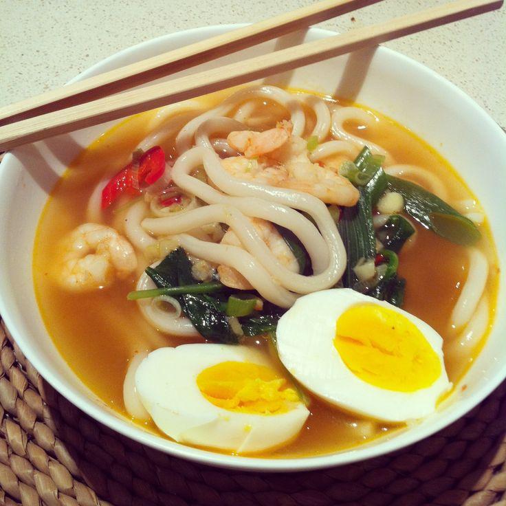 Prawn udon noodle soup | udon noodle | Pinterest