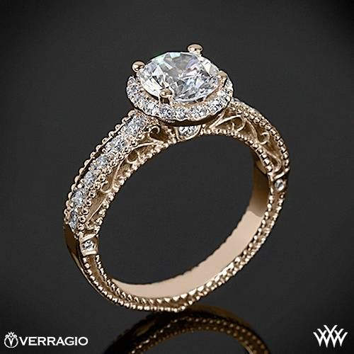 20k Rose Gold Verragio Beaded Pave Diamond Engagement Ring