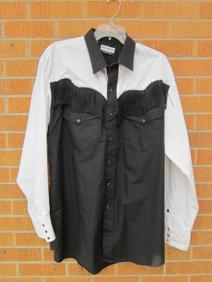 Karman western shirt mens xl black white fringe rockabilly for Mens shirt with tassels