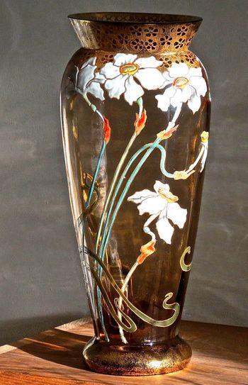 Moser / Mont Joye Enameled Narcissus Vase c.1900