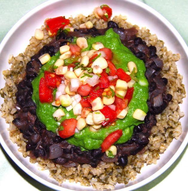 "Fat-Free Burrito Bowl: Cilantro Brown Rice, ""Refried"" Black Beans, ..."