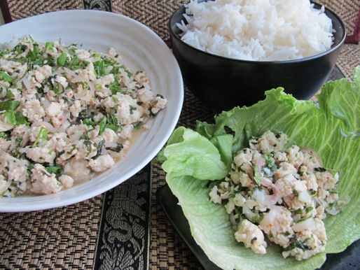 Thai Chicken Larb; works so well as lettuce wrap. I do skip the rice ...