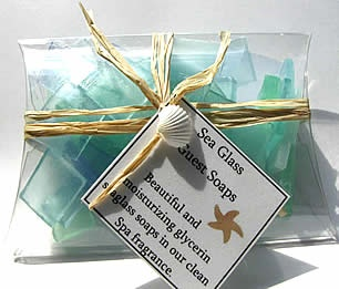 Soaps made to look like sea glass.