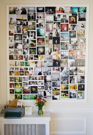 DIY Photo Wall-I want to do something like this in our half bath except with quotes from Pintrest!