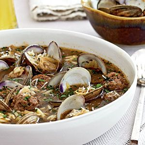 Meatball and clam soup keeps you warm on a chilly evening.