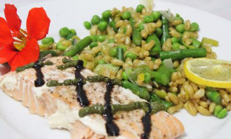 Kamut with Asparagus, Peas and Roasted Lemon pairs well with Salmon | Fresh Food in a Flash