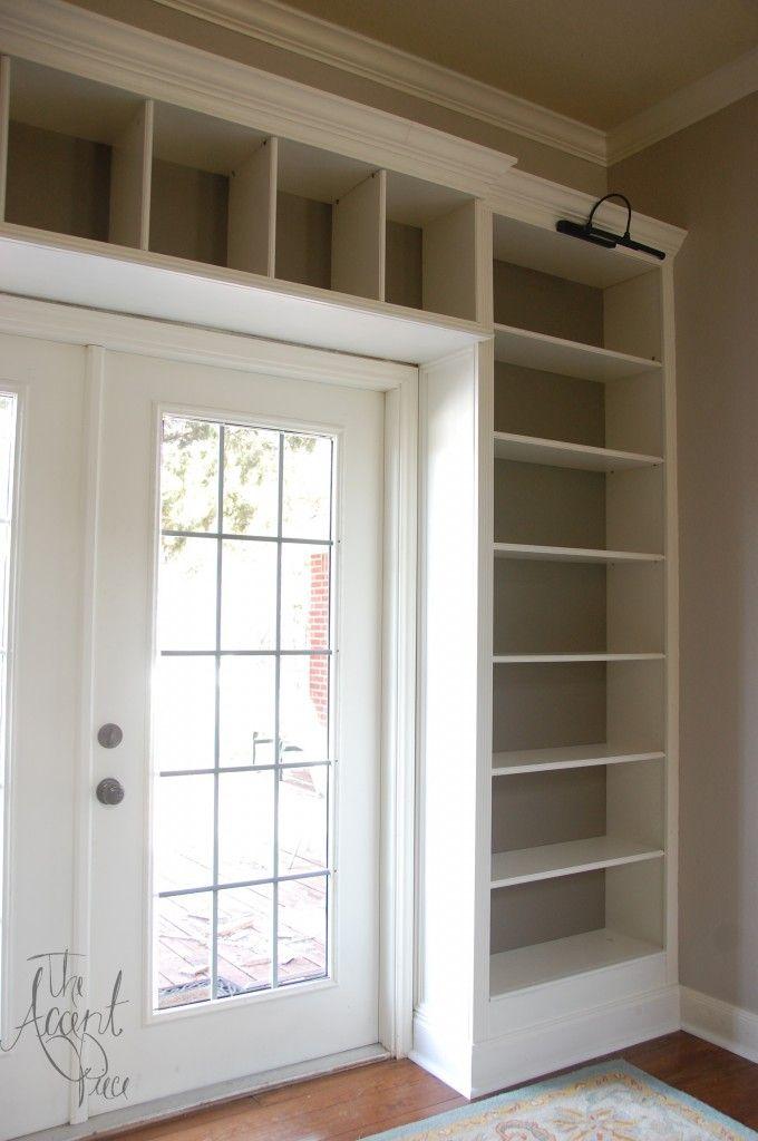 Ikea bookshelves to built ins for Built in nook shelves