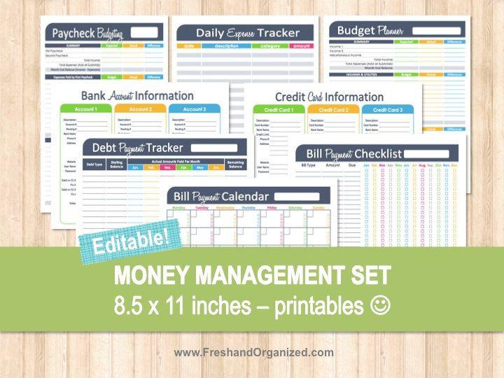 ... Management Set - Editable, Financial Printables, Bill Organizer
