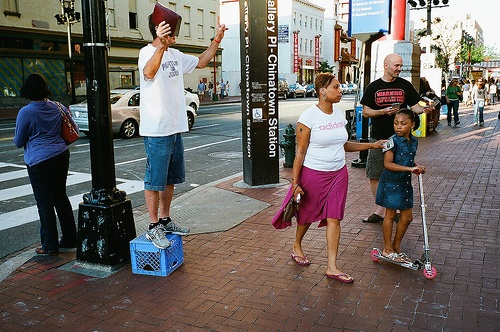 """the preacher on street corners There were several """"repent now,"""" anti-gay and """"jesus is the lord"""" street corner preachers on soap boxes or their equivalent, many hallelujah old time religionists and people of all ages, personal styles and backgrounds"""" http://onthescene blogsfoxnewscom/2009/01/20/geraldo-live-at-the-inauguration/ bubba pulpit."""