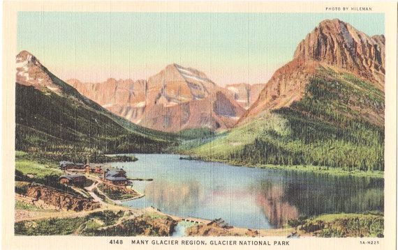 Vintage Montana Postcard: Many Glacier Region, Glacier National Park, Mont. -- Photo by Hileman.    Great 1930s linen postcard in excellent
