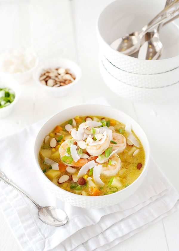 Curried Shrimp and Corn Chowder recipe - a really light soup, it has a ...
