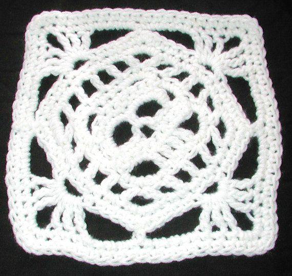 Crochet Patterns Skull : PDF Creepy Granny Skull Off Set Afghan Square Crochet Pattern
