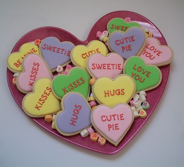 Conversation Heart Cookies | Valentines | Pinterest