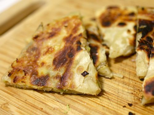 Scallion Pancakes w Cheddar Cheese | Snacks & Apps | Pinterest