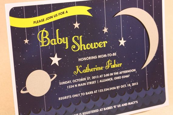 over the moon space themed baby shower invitations unisex retro