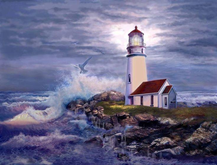 lighthouse | Lighthouse On Rocky Shores Painting - Cape Blanco Oregon ...