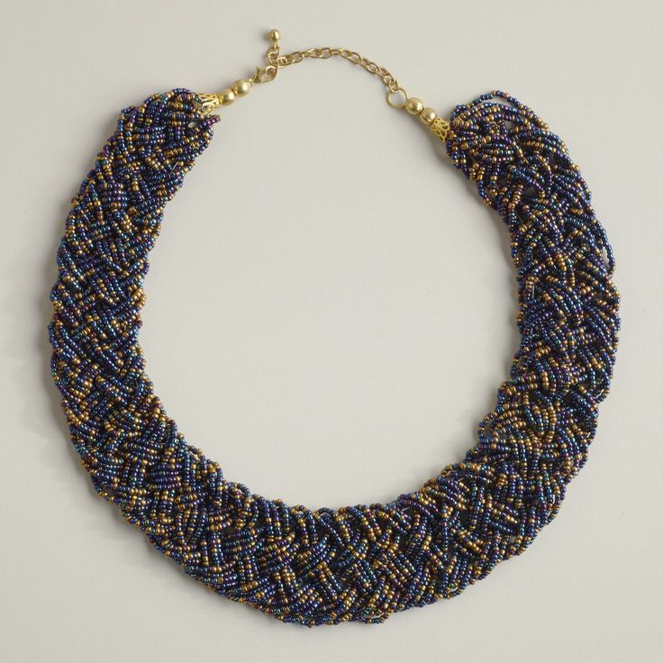 braided seed bead necklace 4 strands jewelry