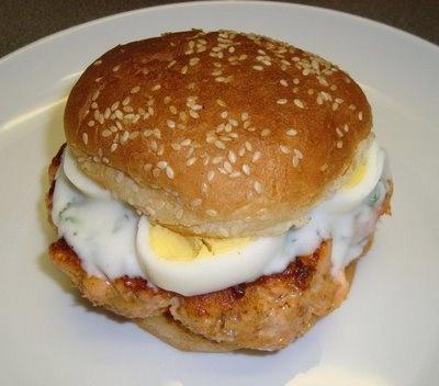 California Salmon Burger With Olives Recipe — Dishmaps