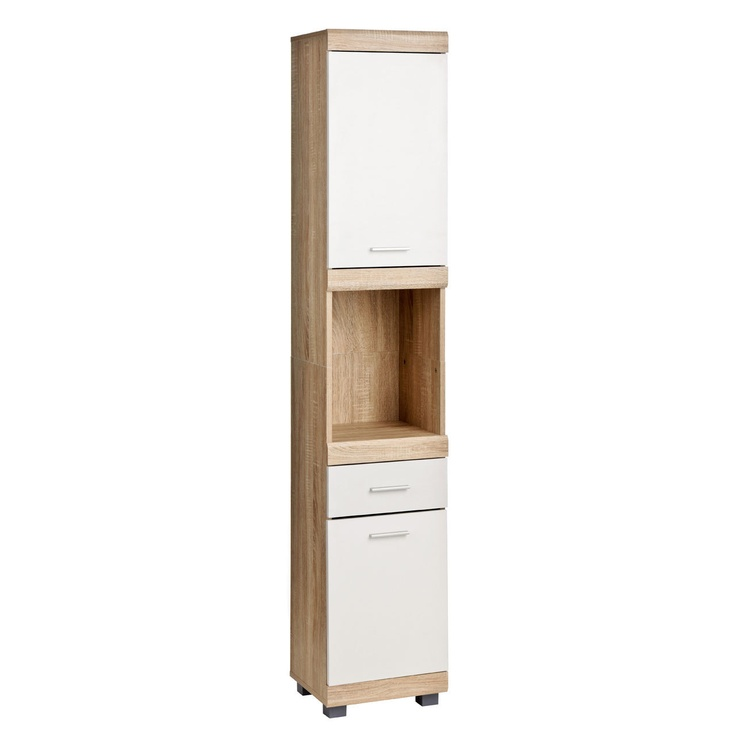 White & oak veneer bathroom storage cabinets wall