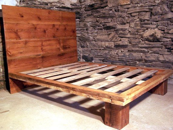Reclaimed Wood Platform Bed From Antique Pine