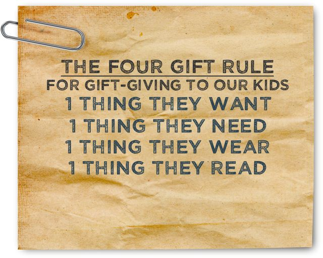 Great rule for Christmas!!! And good way to keep # of gifts in check!