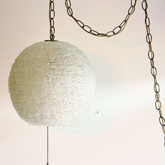 hanging light hanging lamp spaghetti spun globe chain c. Black Bedroom Furniture Sets. Home Design Ideas
