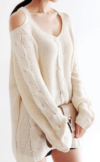 Cold shoulder knit sweater clothes Pinterest
