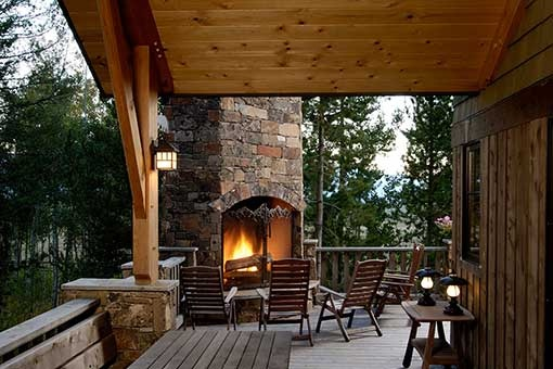 Porch deck outdoor fireplace rustic decks patios for Rustic porches and decks