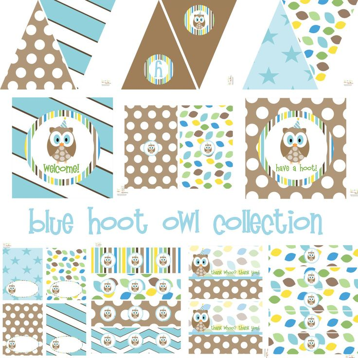 Blue hoot owl full decoration set instant download for Baby shower owl decoration ideas