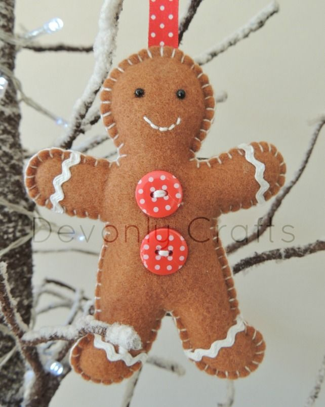 Gingerbread man felt hanging decoration x1 for Gingerbread decorations