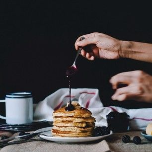 cornmeal pancakes with blackberry goats cheese syrup