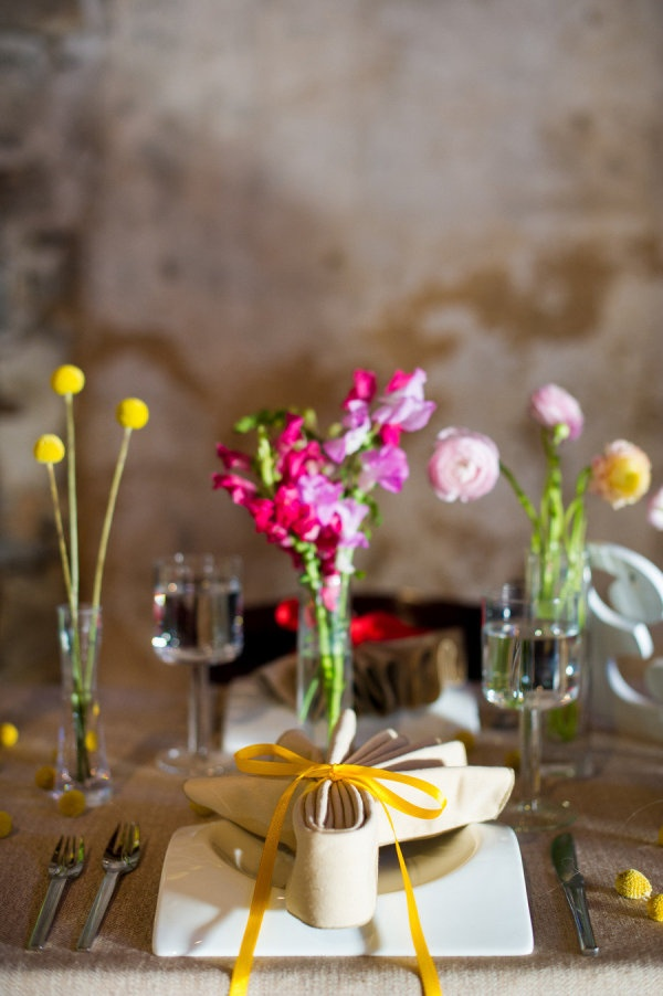 Simple place setting and centerpieces
