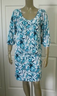 Bcbg max azria new carribean turquoise rayon spandex knit dress sz l