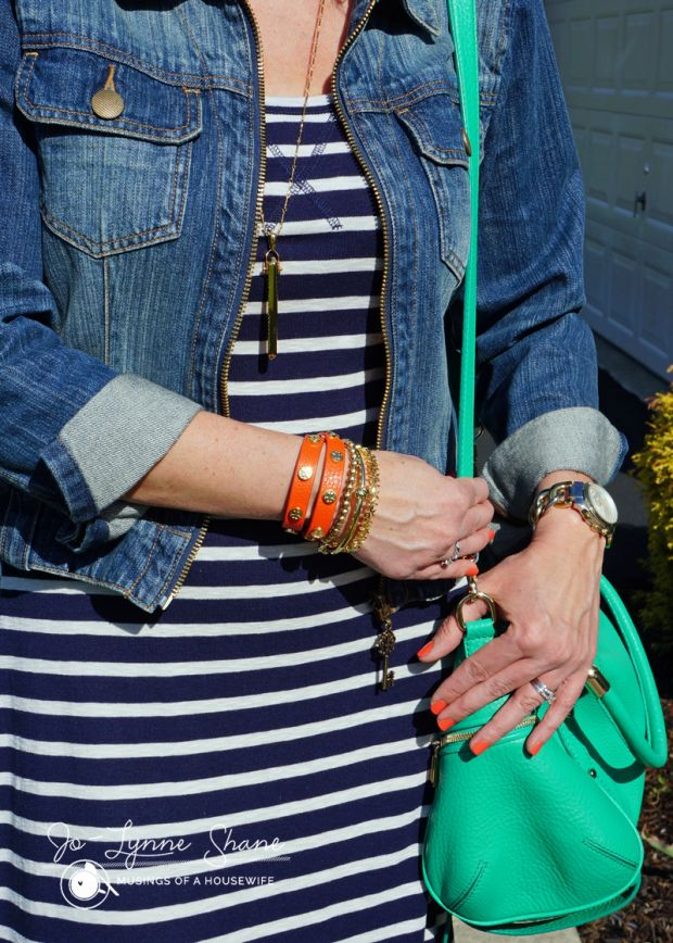 maxi dress, denim jacket, bright accessories