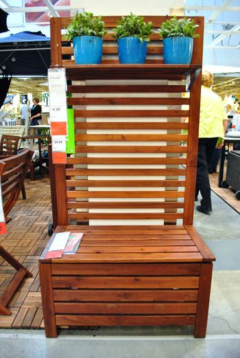 """a slatted ikea """"garden"""" bench for our mudroom"""
