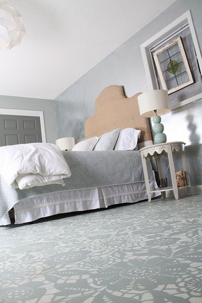 Combest Paint For Home Interior : Goodbye Carpet, Hello Stenciled Floor With Annie Sloan Chalk Paint