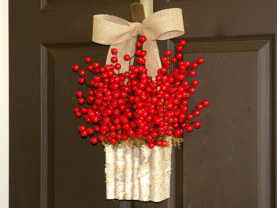 red berry wreath fall wreaths autumn wreath front by aniamelisa, $59.00