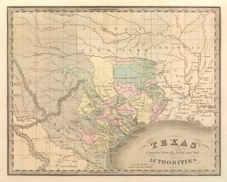 Vintage 1848 Map Of Texas