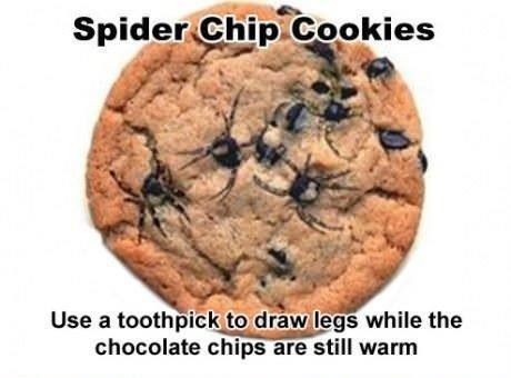 Spider chocolate chip cookies   Halloween- Spooky Food   Pinterest
