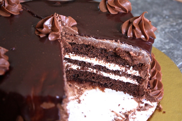 Chocolate cake with chocolate malt icing, marshmallow buttercream ...