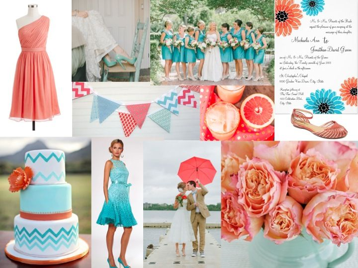 Coral and teal wedding i just love everything about for Coral and turquoise wedding ideas
