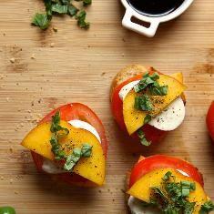 Peach Tomato And Mozzarella Crostini (via www.foodily.com/r/mypzcqJD8)