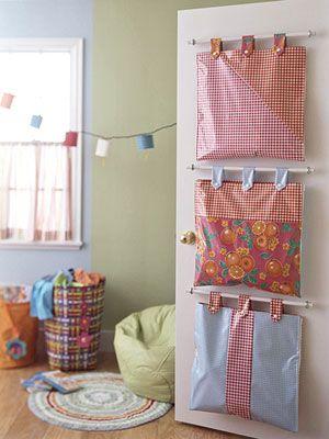 diy hanging door storage bags
