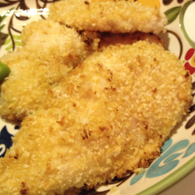 Panko crusted chicken breast. So easy and so yummy. Melt 1/4 cup of ...